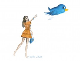 ILLUSTRATION with a fashionista and a flying twitter bird