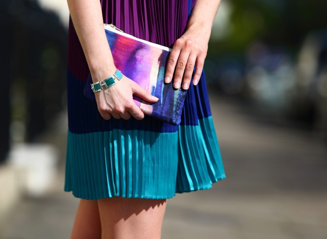 STYLE ADVICE bold colours, purple and turquoise dress and clutch